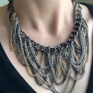 Retro Silver/Gold Layered Chain Chocker Necklace